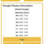 Showing details retrieved from the Google Places API